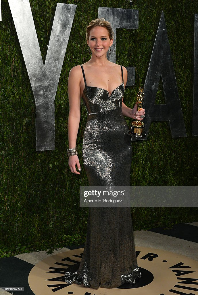 Actress Jennifer Lawrence arrives at the 2013 Vanity Fair Oscar Party hosted by Graydon Carter at Sunset Tower on February 24, 2013 in West Hollywood, California.
