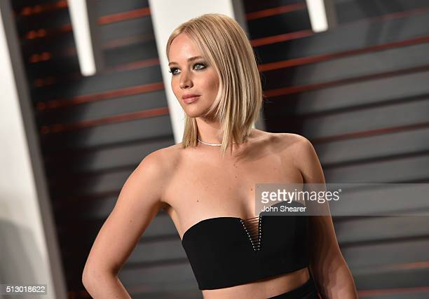 Actress Jennifer Lawrence arrives at the 2016 Vanity Fair Oscar Party Hosted By Graydon Carter at Wallis Annenberg Center for the Performing Arts on...