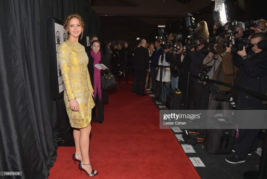Actress <a gi-track='captionPersonalityLinkClicked' href=/galleries/search?phrase=Jennifer+Lawrence&family=editorial&specificpeople=1596040 ng-click='$event.stopPropagation()'>Jennifer Lawrence</a> arrives at the 38th Annual Los Angeles Film Critics Association Awards at InterContinental Hotel on January 12, 2013 in Century City, California.