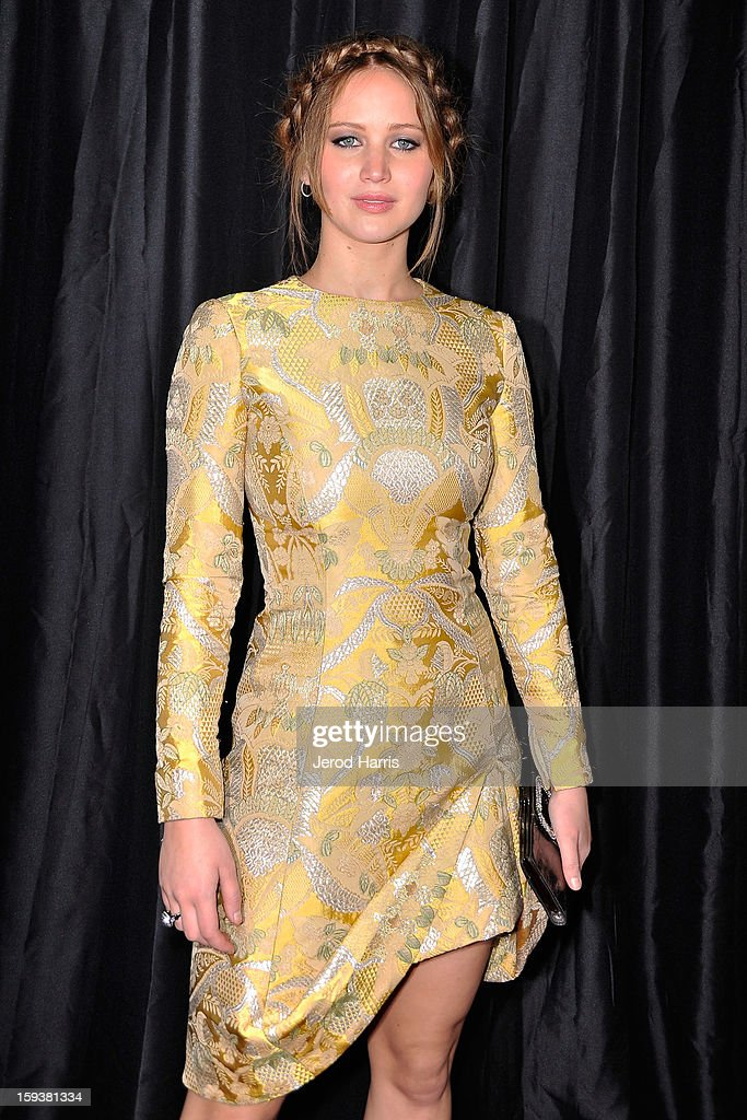 Actress Jennifer Lawrence arrives at the 38th Annual Los Angeles Film Critics Association Awards at InterContinental Hotel on January 12, 2013 in Century City, California.