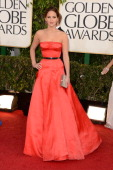 Actress Jennifer Lawrence arrives at the 70th Annual Golden Globe Awards held at The Beverly Hilton Hotel on January 13 2013 in Beverly Hills...