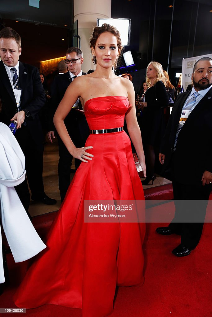 Actress <a gi-track='captionPersonalityLinkClicked' href=/galleries/search?phrase=Jennifer+Lawrence&family=editorial&specificpeople=1596040 ng-click='$event.stopPropagation()'>Jennifer Lawrence</a> arrives at the 70th Annual Golden Globe Awards held at The Beverly Hilton Hotel on January 13, 2013 in Beverly Hills, California.