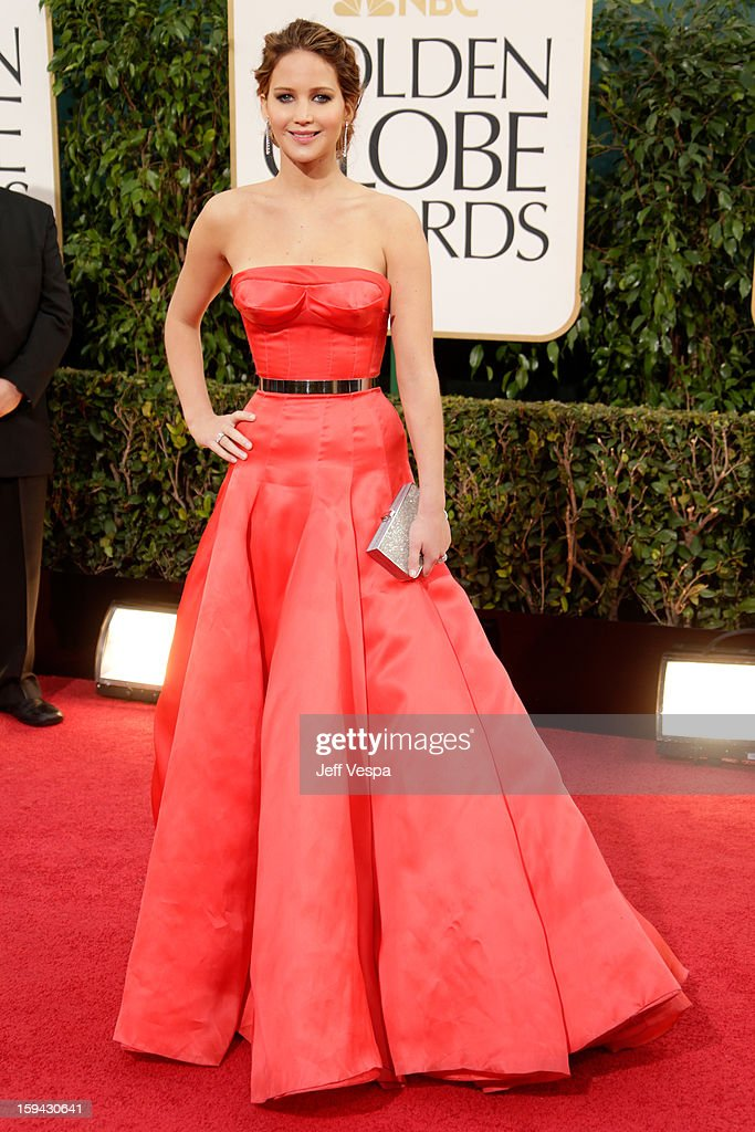 Actress Jennifer Lawrence arrives at the 70th Annual Golden Globe Awards held at The Beverly Hilton Hotel on January 13, 2013 in Beverly Hills, California.
