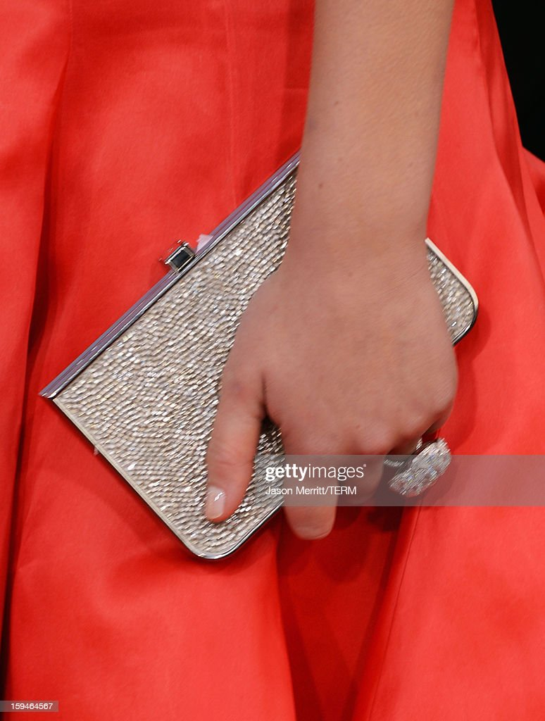 Actress Jennifer Lawrence (fashion detail) arrives at the 70th Annual Golden Globe Awards held at The Beverly Hilton Hotel on January 13, 2013 in Beverly Hills, California.
