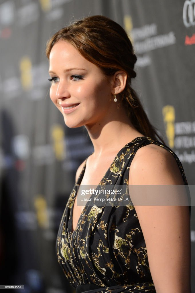 Actress <a gi-track='captionPersonalityLinkClicked' href=/galleries/search?phrase=Jennifer+Lawrence&family=editorial&specificpeople=1596040 ng-click='$event.stopPropagation()'>Jennifer Lawrence</a> arrives at the BAFTA Los Angeles 2013 Awards Season Tea Party held at the Four Seasons Hotel Los Angeles on January 12, 2013 in Los Angeles, California.