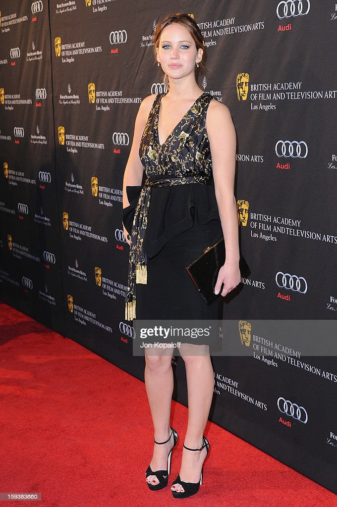 Actress <a gi-track='captionPersonalityLinkClicked' href=/galleries/search?phrase=Jennifer+Lawrence&family=editorial&specificpeople=1596040 ng-click='$event.stopPropagation()'>Jennifer Lawrence</a> arrives at the BAFTA Los Angeles Awards Season Tea Party at Four Seasons Hotel Los Angeles at Beverly Hills on January 12, 2013 in Beverly Hills, California.
