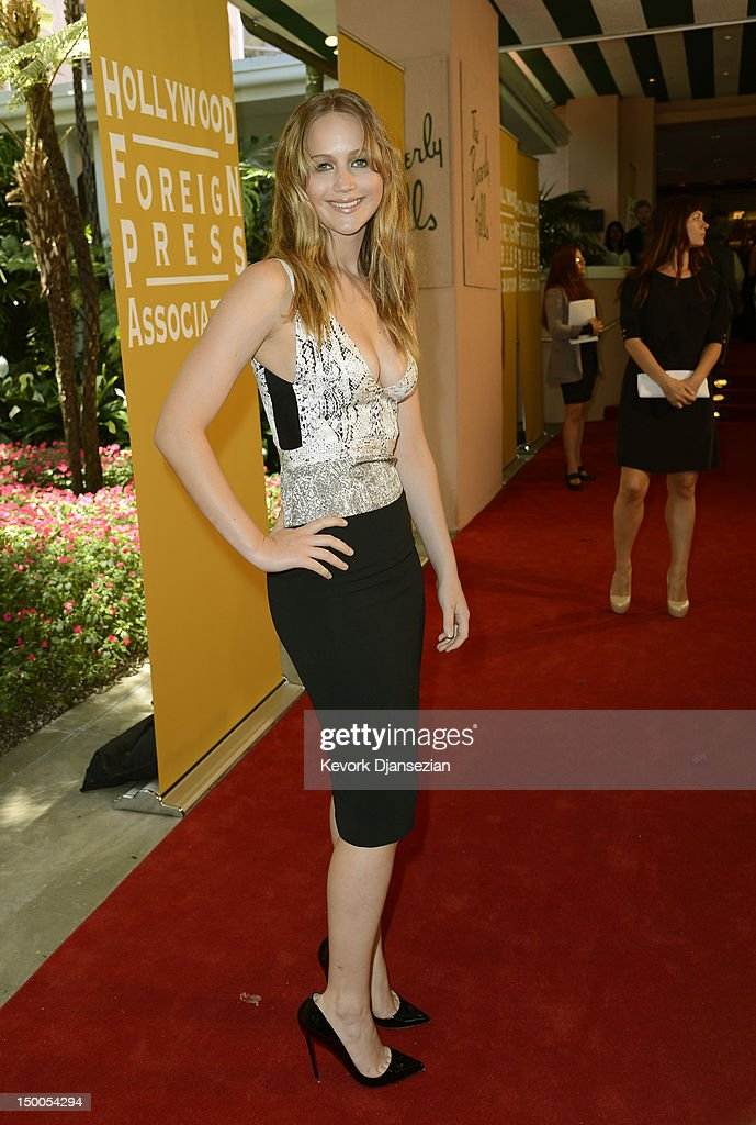 Actress Jennifer Lawrence arrives at the Hollywood Foreign Press Association's 2012 Installation Luncheon held at the Beverly Hills Hotel on August 9, 2012 in Beverly Hills, California.