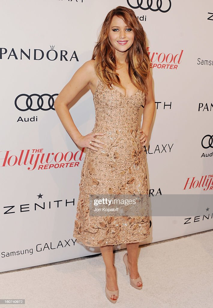 Actress <a gi-track='captionPersonalityLinkClicked' href=/galleries/search?phrase=Jennifer+Lawrence&family=editorial&specificpeople=1596040 ng-click='$event.stopPropagation()'>Jennifer Lawrence</a> arrives at The Hollywood Reporter Nominees' Night 2013 Celebrating 85th Annual Academy Award Nominees at Spago on February 4, 2013 in Beverly Hills, California.