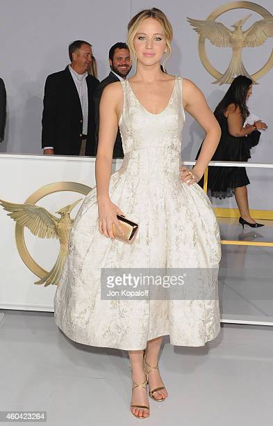 Actress Jennifer Lawrence arrives at the Los Angele Premiere 'The Hunger Games Mockingjay Part 1' at Nokia Theatre LA Live on November 17 2014 in Los...