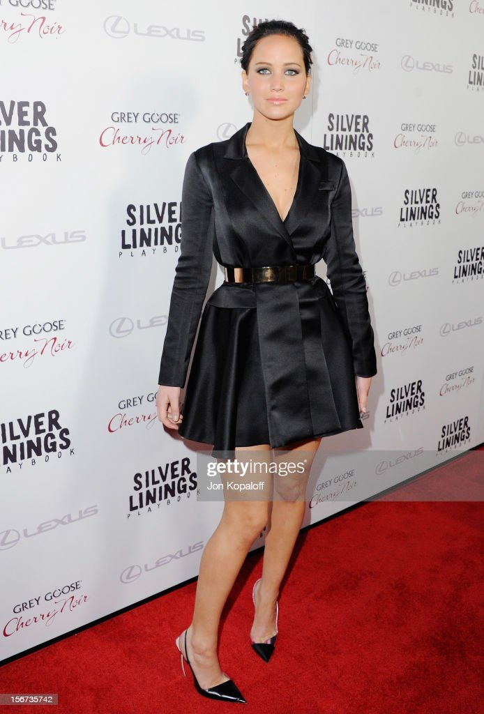Actress <a gi-track='captionPersonalityLinkClicked' href=/galleries/search?phrase=Jennifer+Lawrence&family=editorial&specificpeople=1596040 ng-click='$event.stopPropagation()'>Jennifer Lawrence</a> arrives at the Los Angeles Premiere 'Silver Linings Playbook' at the Academy of Motion Picture Arts and Sciences on November 19, 2012 in Beverly Hills, California.