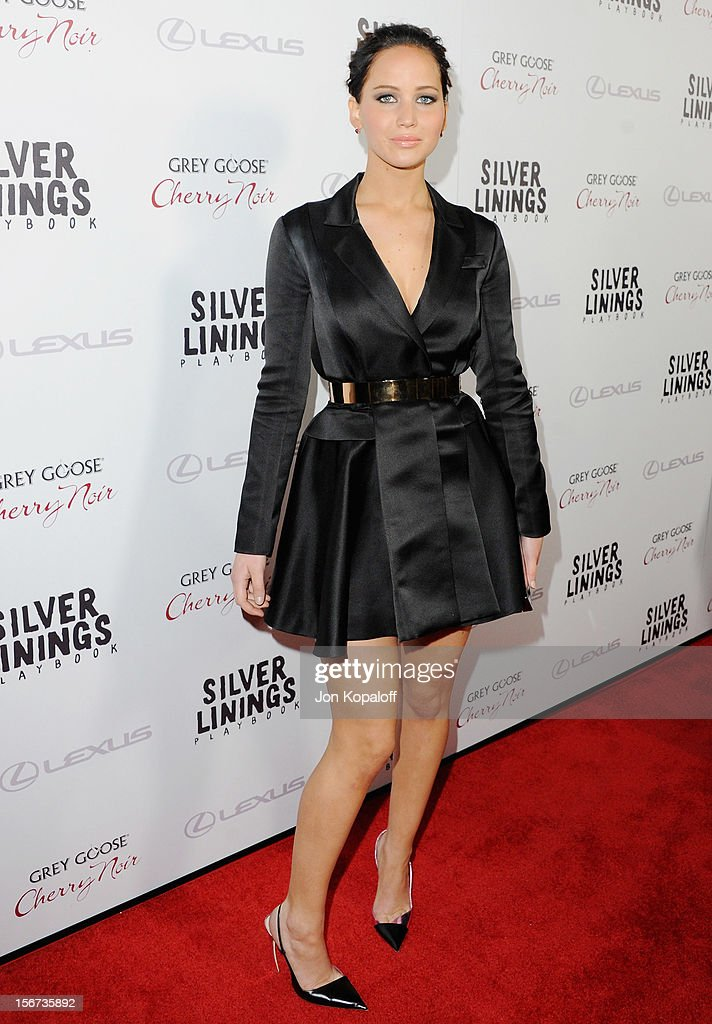 Actress Jennifer Lawrence arrives at the Los Angeles Premiere 'Silver Linings Playbook' at the Academy of Motion Picture Arts and Sciences on November 19, 2012 in Beverly Hills, California.