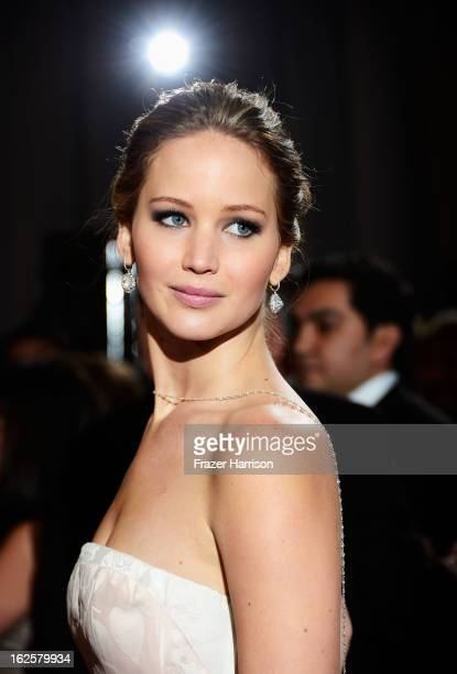Actress Jennifer Lawrence arrives at the Oscars at Hollywood Highland Center on February 24 2013 in Hollywood California