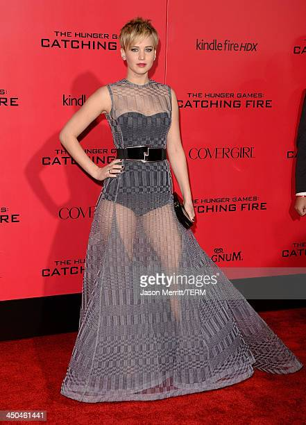 Actress Jennifer Lawrence arrives at the premiere of Lionsgate's 'The Hunger Games Catching Fire' at Nokia Theatre LA Live on November 18 2013 in Los...