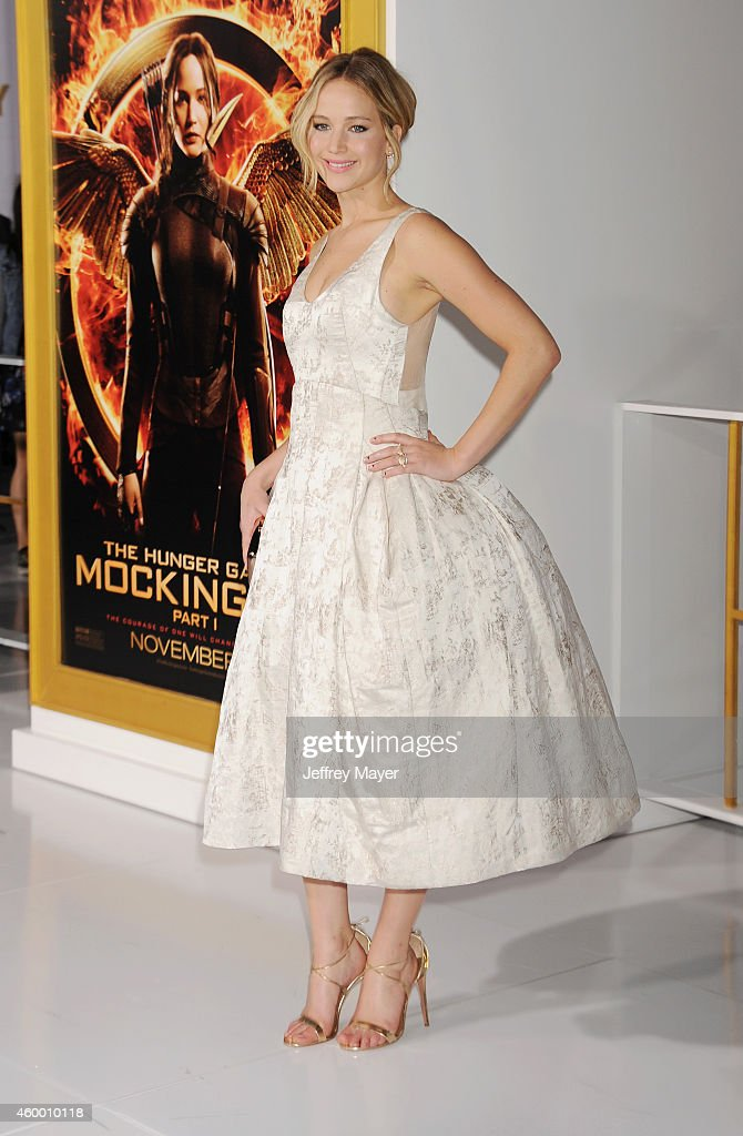 Actress Jennifer Lawrence arrives at the 'The Hunger Games Mockingjay Part 1' Los Angeles Premiere at Nokia Theatre LA Live on November 17 2014 in...