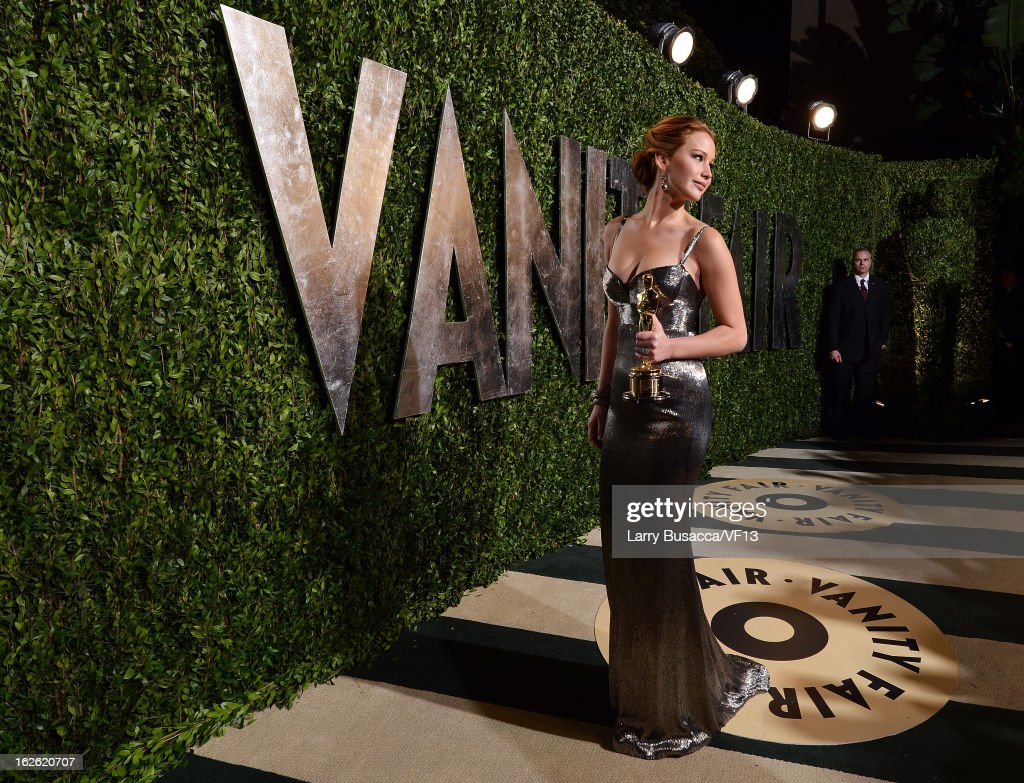 Actress Jennifer Lawrence arrives for the 2013 Vanity Fair Oscar Party hosted by Graydon Carter at Sunset Tower on February 24, 2013 in West Hollywood, California.