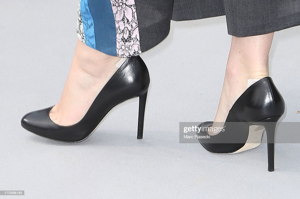 Actress Jennifer Lawrence (shoe detail) arrives to attend the Christian Dior show as part of Paris Fashion Week Haute Couture Fall/Winter 2013-2014 at on July 1, 2013 in Paris, France.