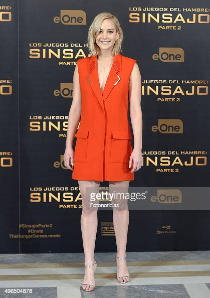 Actress Jennifer Lawrence attends a photocall for 'The Hunger Games Mockingjay Part 2' at the Villamagna Hotel on November 10 2015 in Madrid Spain
