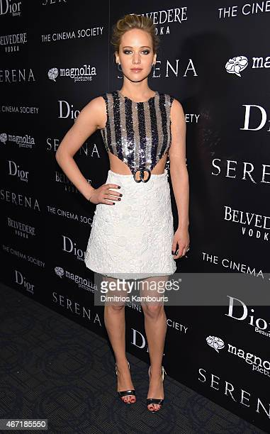 Actress Jennifer Lawrence attends a screening of 'Serena' hosted by Magnolia Pictures and the Cinema Society with Dior Beauty on March 21 2015 in New...