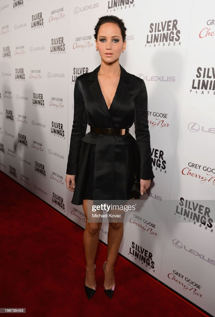 Actress <a gi-track='captionPersonalityLinkClicked' href=/galleries/search?phrase=Jennifer+Lawrence&family=editorial&specificpeople=1596040 ng-click='$event.stopPropagation()'>Jennifer Lawrence</a> attends a special screening of 'Silver Linings Playbook' presented by The Weinstein Company sponsored by Grey Goose and Lexus at AMPAS Samuel Goldwyn Theater on November 19, 2012 in Beverly Hills, California.