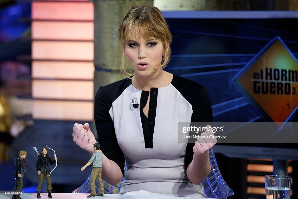 Actress <a gi-track='captionPersonalityLinkClicked' href=/galleries/search?phrase=Jennifer+Lawrence&family=editorial&specificpeople=1596040 ng-click='$event.stopPropagation()'>Jennifer Lawrence</a> attends 'El Hormiguero' TV show at Vertice 360 Studio on April 19, 2012 in Madrid, Spain.
