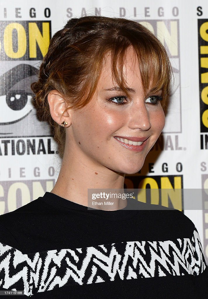 Actress Jennifer Lawrence attends Lionsgate's 'The Hunger Games: Catching Fire' and 'I, Frankenstein' press line during Comic-Con International 2013 at the Hilton Bayfront on July 20, 2013 in San Diego, California.