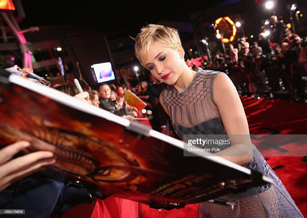 Actress Jennifer Lawrence attends premiere of Lionsgate's 'The Hunger Games Catching Fire' Red Carpet at Nokia Theatre LA Live on November 18 2013 in...
