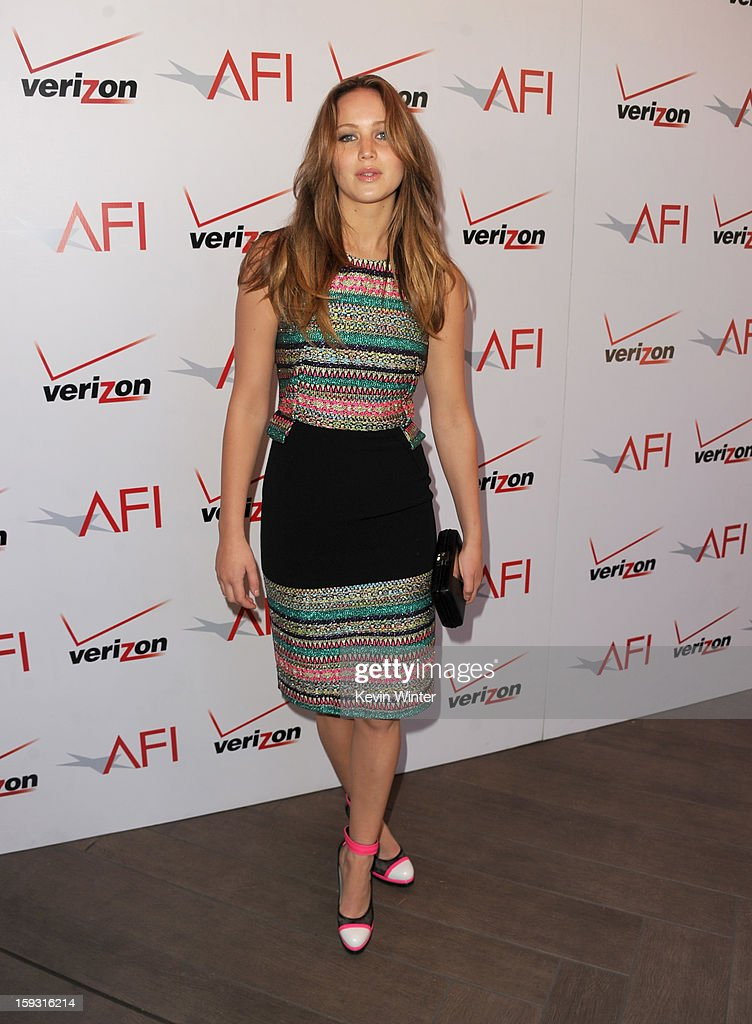 Actress <a gi-track='captionPersonalityLinkClicked' href=/galleries/search?phrase=Jennifer+Lawrence&family=editorial&specificpeople=1596040 ng-click='$event.stopPropagation()'>Jennifer Lawrence</a> attends the 13th Annual AFI Awards at Four Seasons Los Angeles at Beverly Hills on January 11, 2013 in Beverly Hills, California.