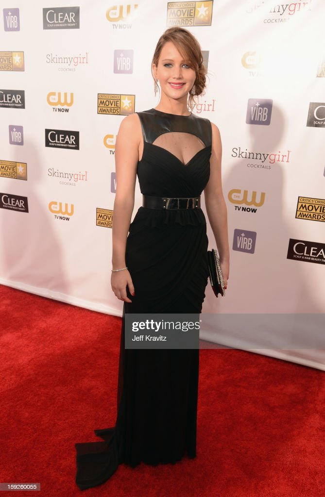 Actress <a gi-track='captionPersonalityLinkClicked' href=/galleries/search?phrase=Jennifer+Lawrence&family=editorial&specificpeople=1596040 ng-click='$event.stopPropagation()'>Jennifer Lawrence</a> attends the 18th Annual Critics' Choice Movie Awards at Barker Hangar on January 10, 2013 in Santa Monica, California.