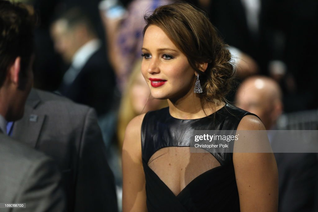 Actress <a gi-track='captionPersonalityLinkClicked' href=/galleries/search?phrase=Jennifer+Lawrence&family=editorial&specificpeople=1596040 ng-click='$event.stopPropagation()'>Jennifer Lawrence</a> attends the 18th Annual Critics' Choice Movie Awards held at Barker Hangar on January 10, 2013 in Santa Monica, California.