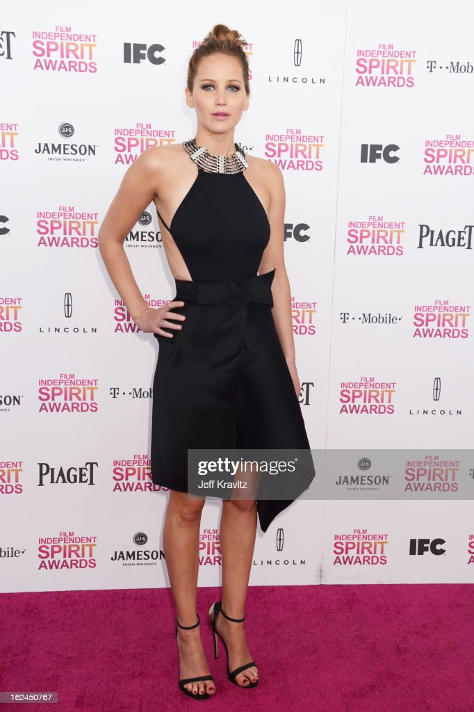 Actress Jennifer Lawrence attends the 2013 Film Independent Spirit Awards at Santa Monica Beach on February 23, 2013 in Santa Monica, California.