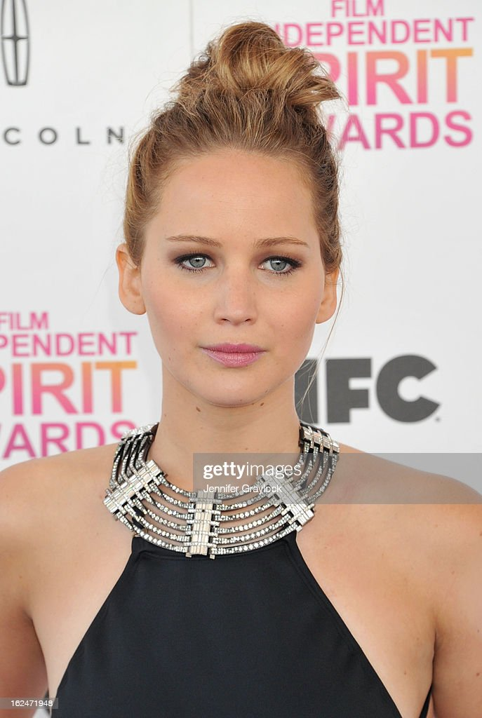 Actress Jennifer Lawrence attends the 2013 Film Independent Spirit Awards held on the beach in Santa Monica on February 23, 2013 in Santa Monica, California.