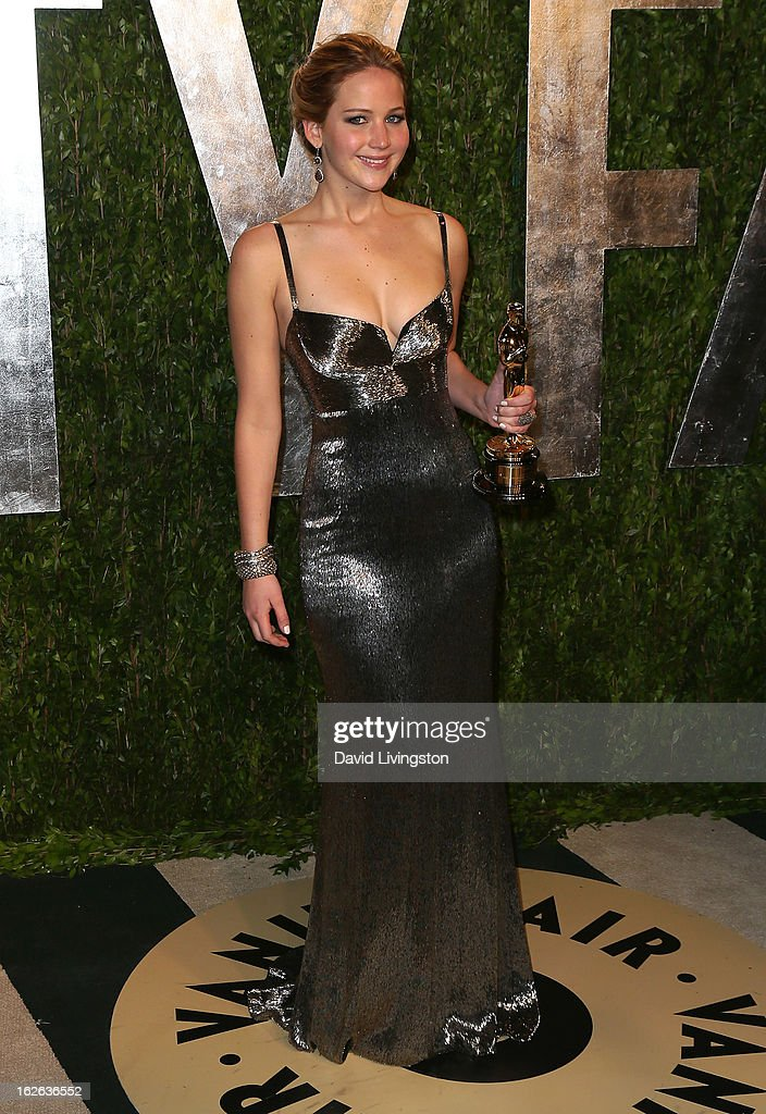 Actress Jennifer Lawrence attends the 2013 Vanity Fair Oscar Party at the Sunset Tower Hotel on February 24, 2013 in West Hollywood, California.