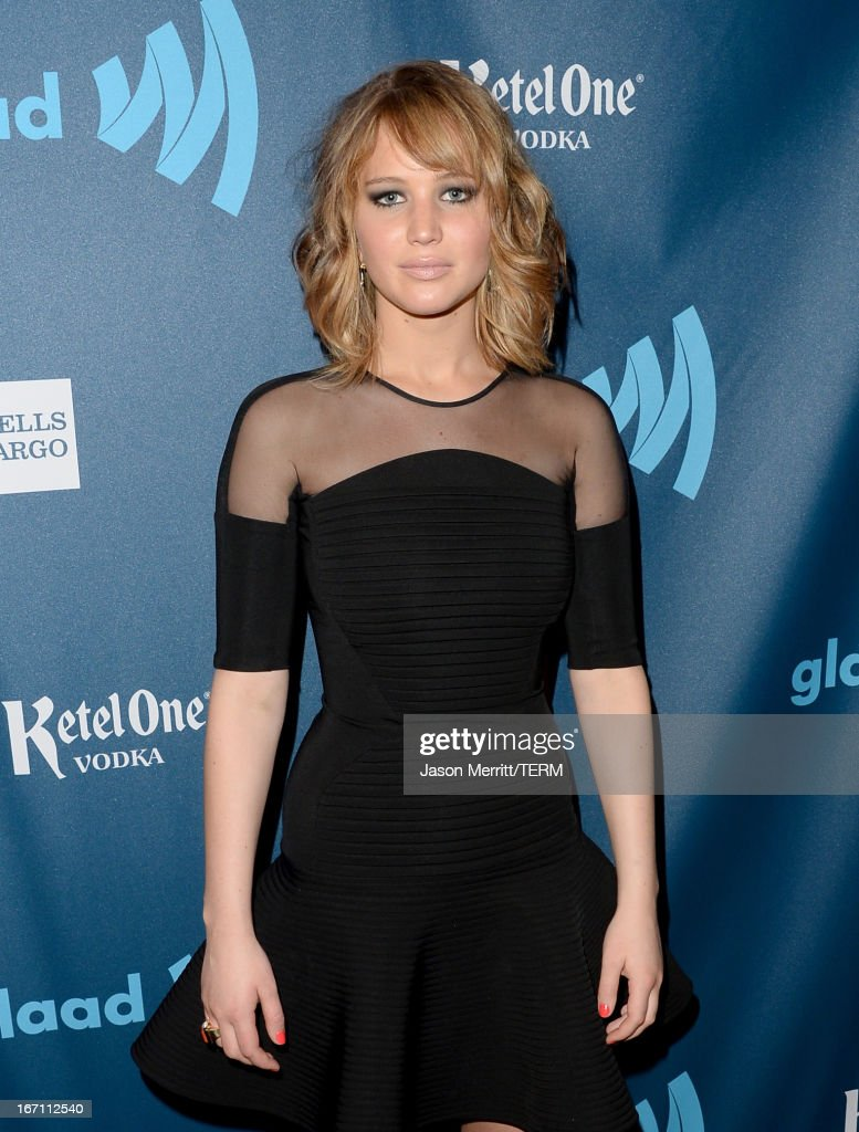 Actress <a gi-track='captionPersonalityLinkClicked' href=/galleries/search?phrase=Jennifer+Lawrence&family=editorial&specificpeople=1596040 ng-click='$event.stopPropagation()'>Jennifer Lawrence</a> attends the 24th Annual GLAAD Media Awards at JW Marriott Los Angeles at L.A. LIVE on April 20, 2013 in Los Angeles, California.