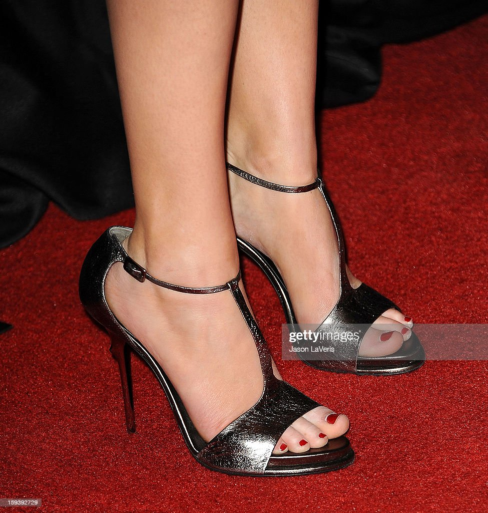 Actress Jennifer Lawrence (shoe detail) attends the 38th annual Los Angeles Film Critics Association Awards at InterContinental Hotel on January 12, 2013 in Century City, California.