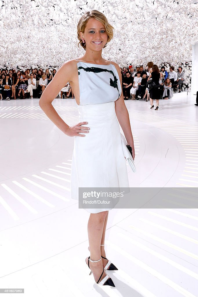 Actress <a gi-track='captionPersonalityLinkClicked' href=/galleries/search?phrase=Jennifer+Lawrence&family=editorial&specificpeople=1596040 ng-click='$event.stopPropagation()'>Jennifer Lawrence</a> attends the Christian Dior show as part of Paris Fashion Week - Haute Couture Fall/Winter 2014-2015. Held at Musee Rodin on July 7, 2014 in Paris, France.
