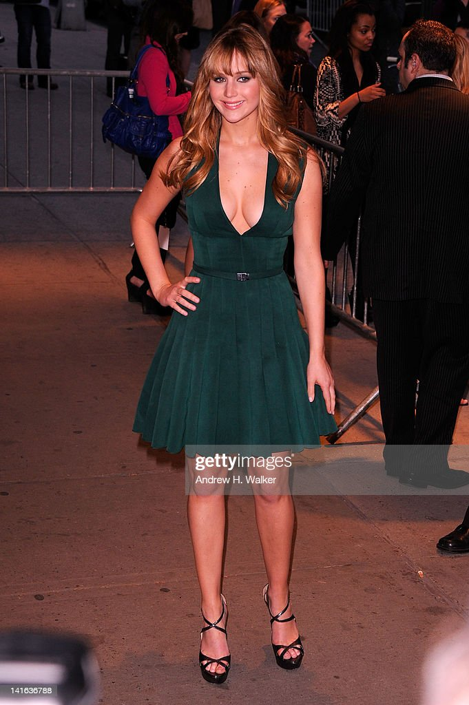 Actress <a gi-track='captionPersonalityLinkClicked' href=/galleries/search?phrase=Jennifer+Lawrence&family=editorial&specificpeople=1596040 ng-click='$event.stopPropagation()'>Jennifer Lawrence</a> attends the Cinema Society & Calvin Klein Collection screening of 'The Hunger Games' at SVA Theatre on March 20, 2012 in New York City.
