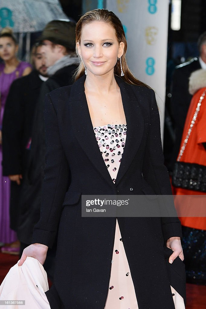 Actress Jennifer Lawrence attends the EE British Academy Film Awards at The Royal Opera House on February 10, 2013 in London, England.