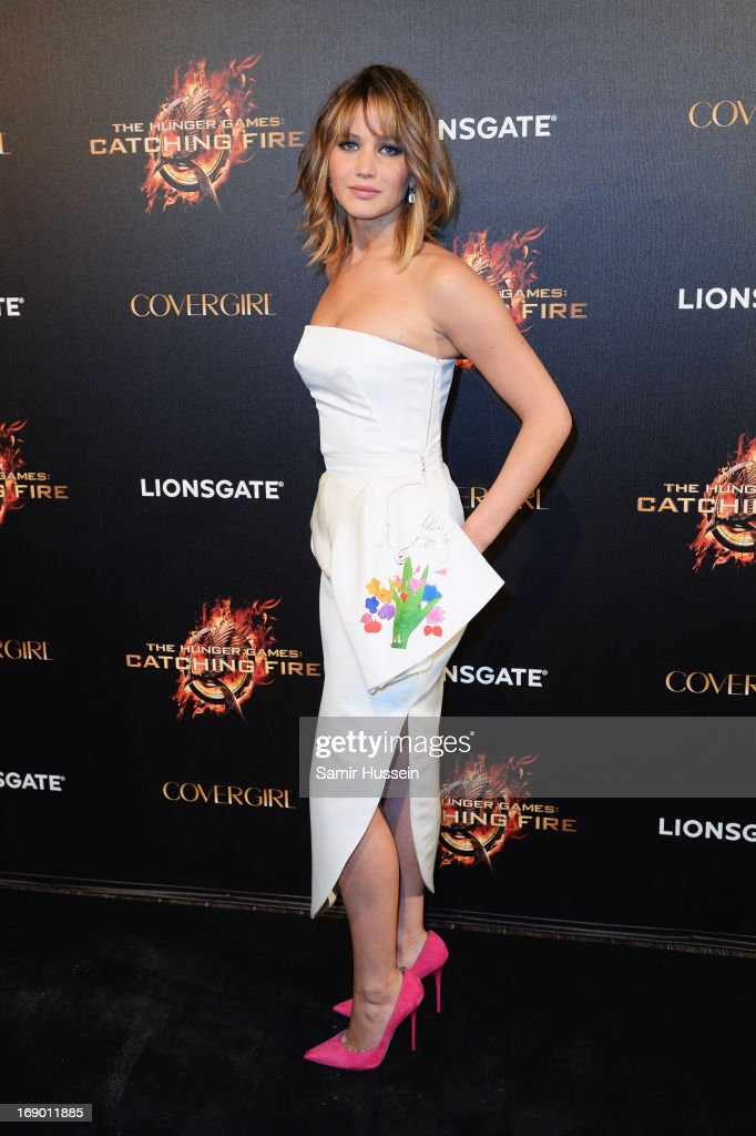 Actress Jennifer Lawrence attends 'The Hunger Games Catching Fire' Party during The 66th Annual Cannes Film Festival at Baoli Beach on May 18 2013 in...