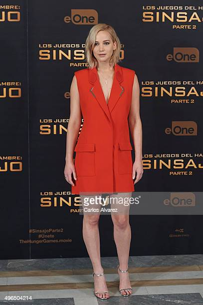 Actress Jennifer Lawrence attends 'The Hunger Games Mockingjay Part 2' photocall at the Villamagna Hotel on November 10 2015 in Madrid Spain
