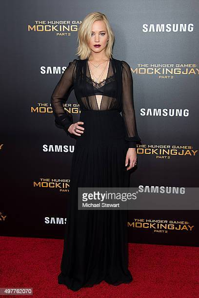 Actress Jennifer Lawrence attends 'The Hunger Games Mockingjay Part 2' New York premiere at AMC Loews Lincoln Square 13 theater on November 18 2015...