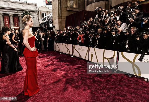 Actress Jennifer Lawrence attends the Oscars at Hollywood Highland Center on March 2 2014 in Hollywood California