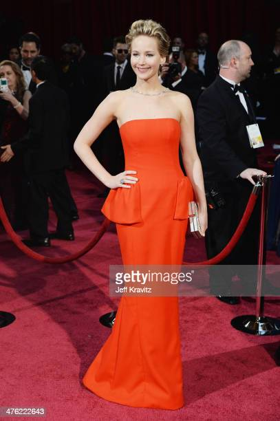 Actress Jennifer Lawrence attends the Oscars held at Hollywood Highland Center on March 2 2014 in Hollywood California