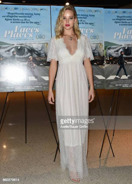 Actress Jennifer Lawrence attends the premiere of Cohen Media Group's 'Faces Places' at the Pacific Design Center on October 11 2017 in West...