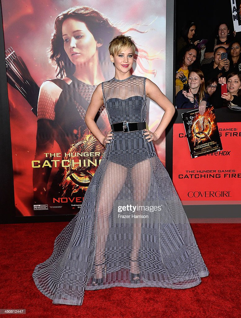 Actress Jennifer Lawrence attends the premiere of Lionsgate's 'The Hunger Games: Cathching Fire' at Nokia Theatre L.A. Live on November 18, 2013 in Los Angeles, California.