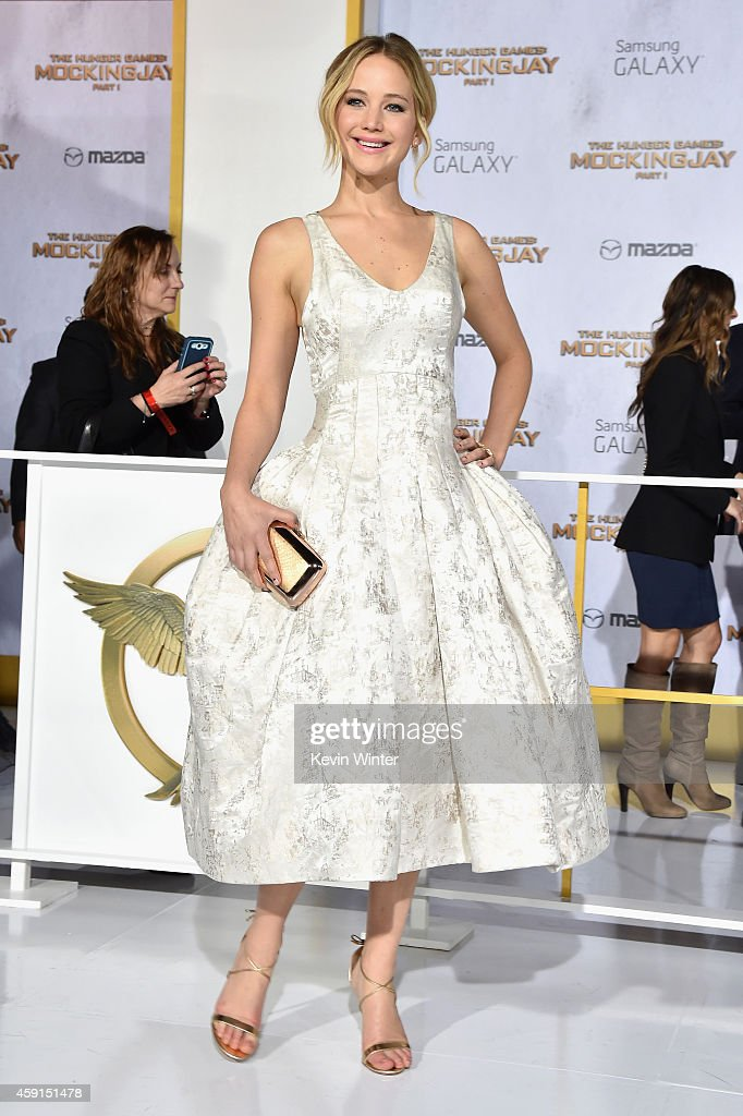 Actress Jennifer Lawrence attends the premiere of Lionsgate's 'The Hunger Games Mockingjay Part 1' at Nokia Theatre LA Live on November 17 2014 in...