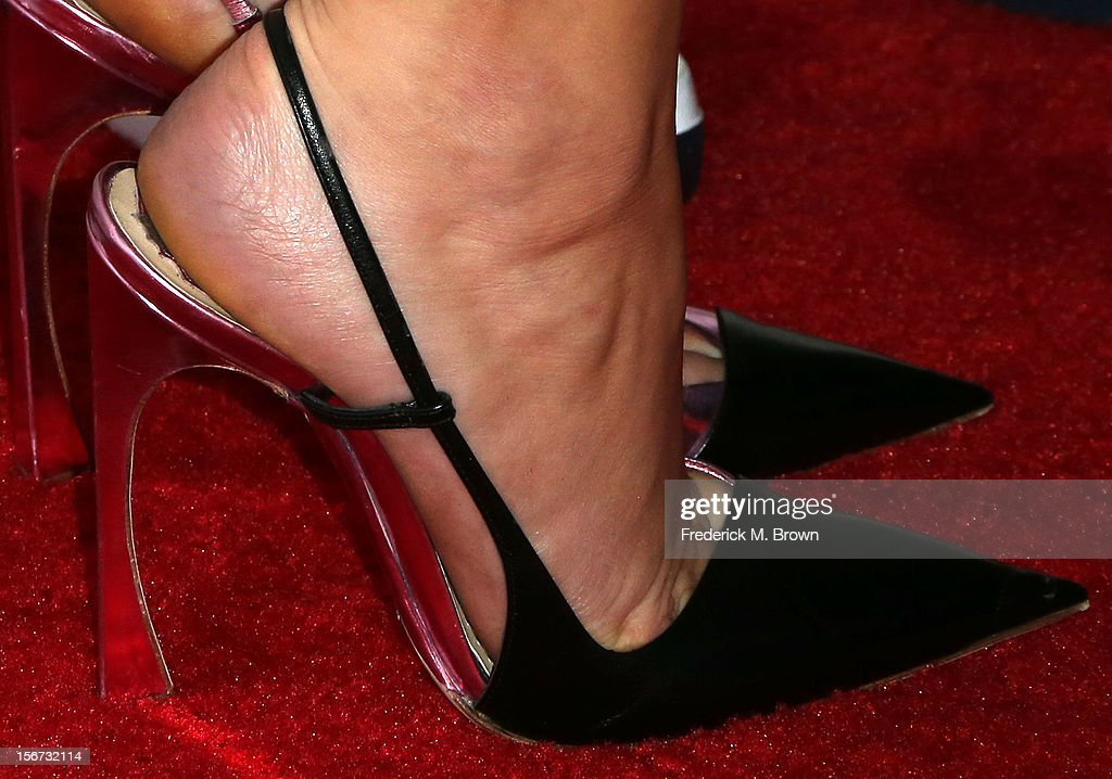 Actress Jennifer Lawrence (shoe detail) attends the Screening Of The Weinstein Company's 'Silver Linings Playbook' at The Academy of Motion Pictures Arts and Sciences on November 19, 2012 in Beverly Hills, California.