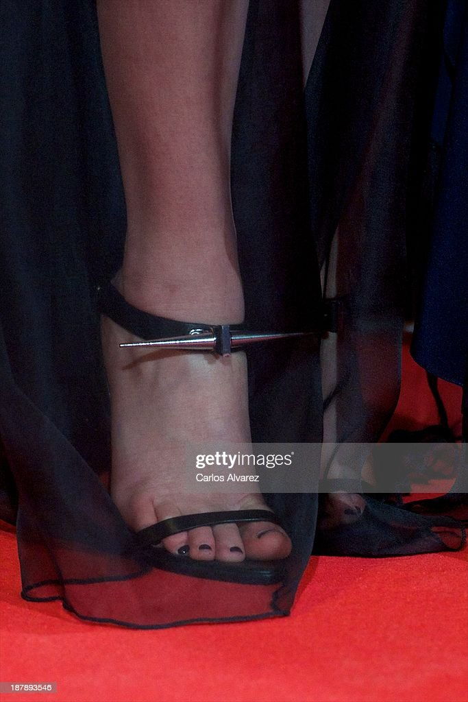 Actress Jennifer Lawrence attends (shoes detail) the Spanish premiere of the film 'The Hunger Games - Catching Fire' (Los Juegos Del Hambre: En Llamas) at the Callao cinema on November 13, 2013 in Madrid, Spain.