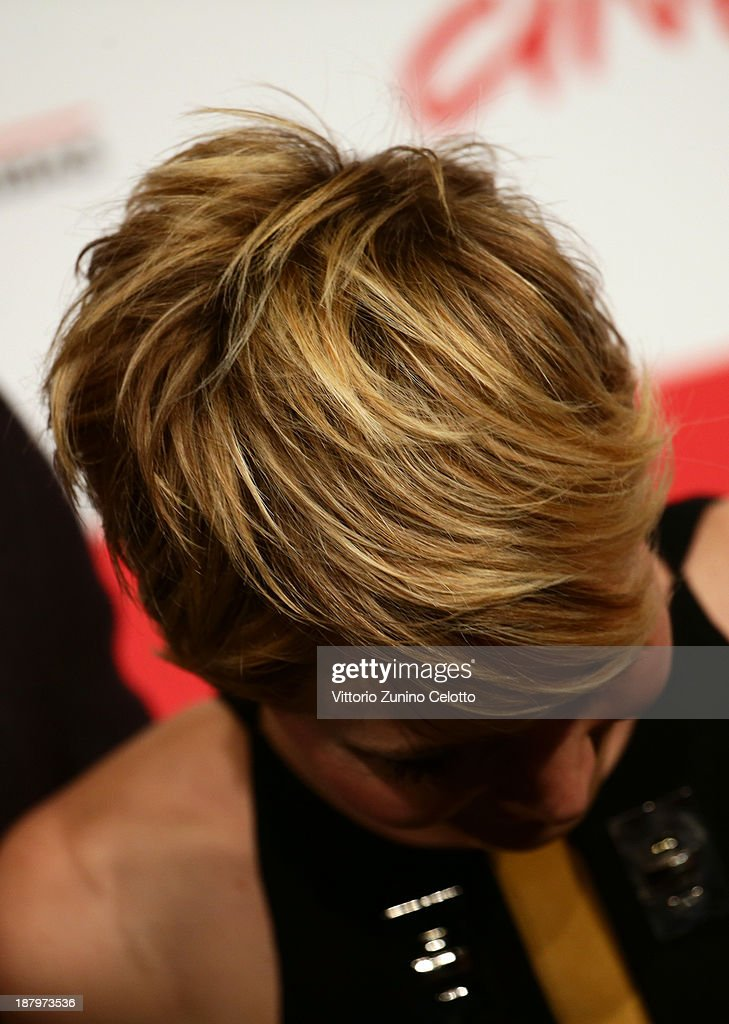 Actress Jennifer Lawrence (hair detail) attends the 'The Hunger Games: Catching Fire' Photocall during the 8th Rome Film Festival at the Auditorium Parco Della Musica on November 14, 2013 in Rome, Italy.