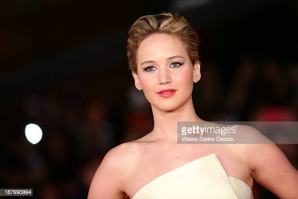 Actress Jennifer Lawrence attends the 'The Hunger Games Catching Fire' Premiere during The 8th Rome Film Festival at Auditorium Parco Della Musica on...