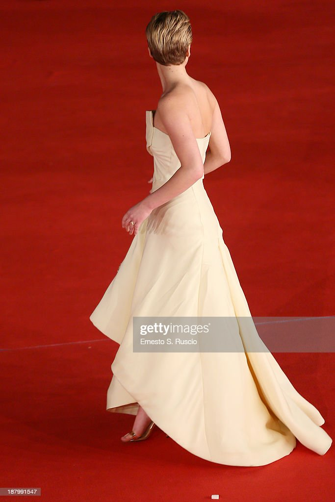 Actress Jennifer Lawrence attends the 'The Hunger Games: Catching Fire' Premiere during The 8th Rome Film Festival at Auditorium Parco Della Musica on November 14, 2013 in Rome, Italy.
